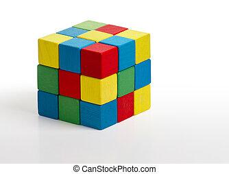 juguete, rompecabezas, cubo, multicolor, de madera,...