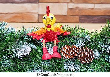 juguete, símbolo, año, nuevo,  2017, gallo