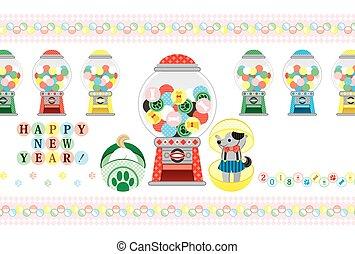 juguete, saludo, cápsula, 2018, año, nuevo, tarjeta, feliz