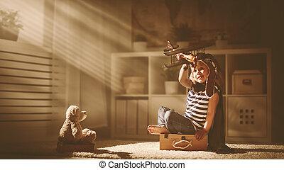juguete, sueños, niño, piloto, aviador, avión, travels., concepto
