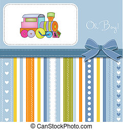 juguete, tarjeta, tren, ducha, bebé