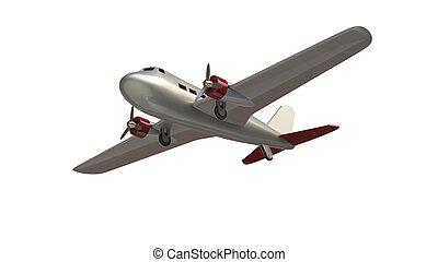 juguete, tiro, -, avión, ángulo bajo