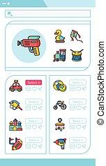 juguete,  vector, Conjunto, icono