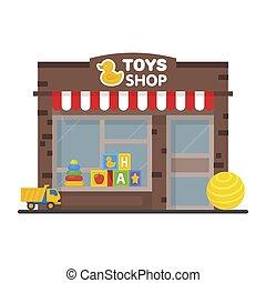 juguete, ventana de la tienda, exhibición, exterior, edificio, niños, juguetes, vector, ilustración