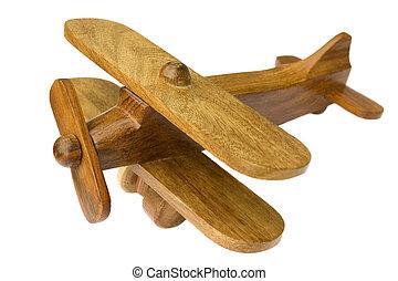 juguete, viejo, de madera, avión, plano de fondo, blanco