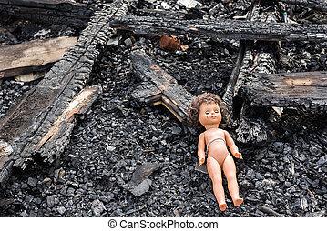 juguete viejo, muñeca, en, el, midst, de, ruinas, y, devastación