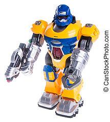 juguetee robot, en, un, plano de fondo