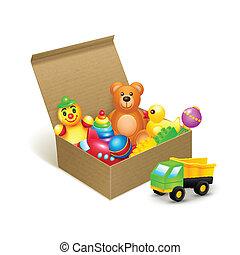 juguetes, caja, emblema