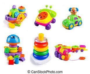 juguetes, colección, en, el, fondo blanco