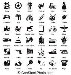 juguetes, conjunto, icono