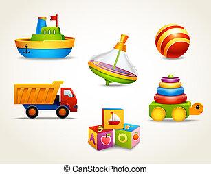 juguetes, conjunto, iconos