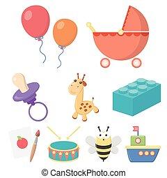 juguetes, conjunto, iconos, en, caricatura, style., grande, colección, de, juguetes, vector, símbolo, ilustración común