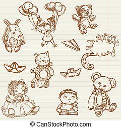 juguetes, dibujado, vector, colección, mano