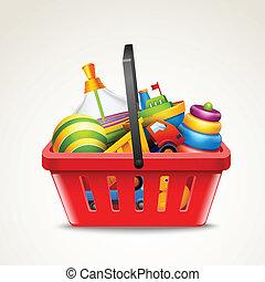 juguetes, en, canasta de compras