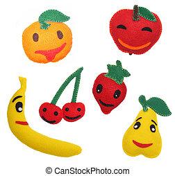 juguetes, fieltro, frutas