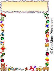 juguetes, frontera, con, marco, en, el, cima