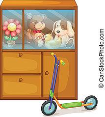 juguetes, patineta, lleno, espalda, gabinete