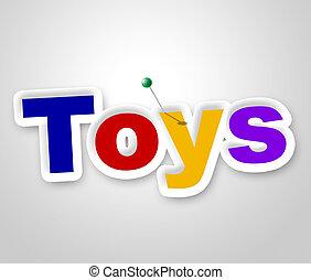 juguetes, señal, exposiciones, niños, exhibición, y, tienda