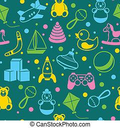 juguetes, seamless, patrón