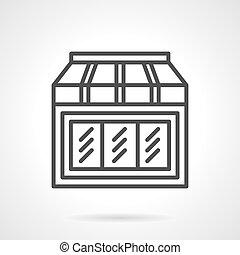 juguetes, tienda, vitrina, simple, línea, vector, icono