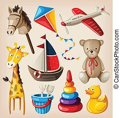 juguetes, vendimia, colorido, conjunto