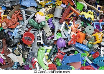 juguetes, viejo, olvidado, roto