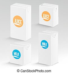 Juice and Milk Package Vector Realistic Mock Up Template....
