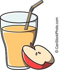 Juice apple doodle illustration