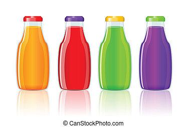 Juice bottles over white background