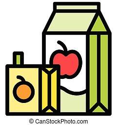 Juice box icon, Beverage filled vector illustration - Juice ...