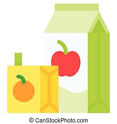 Juice box icon, Beverage flat vector illustration - Juice ...