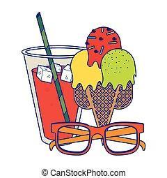 Juice cup with ice cream ans sunglasses cartoon