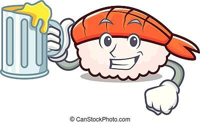 Juice ebi sushi mascot cartoon