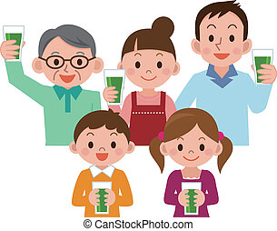 juice, familj, grönsak, drickande