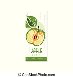 Juice fruit label with half of green apple and leaves. Organic and healthy product. Vegan nutrition. Hand drawn design for juice or yogurt packaging. Colorful vector