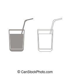 Juice glass with drinking straw grey set icon .