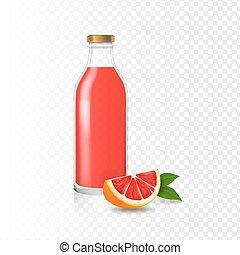 Juice grapefruit bottle glass vector realistic isolated Fruit beverage packaging