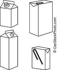 Juice milk blank white carton boxes packages isolated icons vector