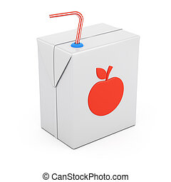 Juice package isolated on white background. 3d rendering...