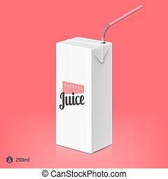 Juice package with drinking straw
