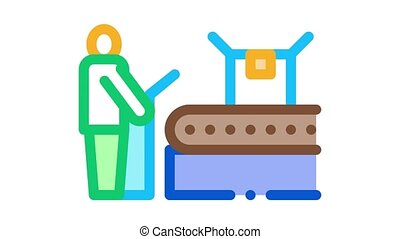 juice packaging conveyor Icon Animation. color juice packaging conveyor animated icon on white background
