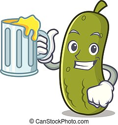 Juice pickle mascot cartoon style