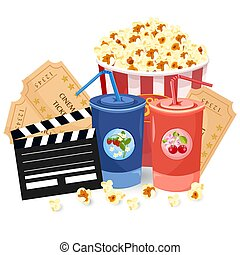 Juice, Popcorn and movie tickets Vector illustration