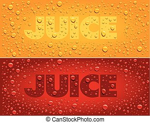 juice text on red and yellow background with fresh drops -...