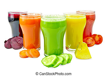 Juice vegetable in five glasses with vegetables