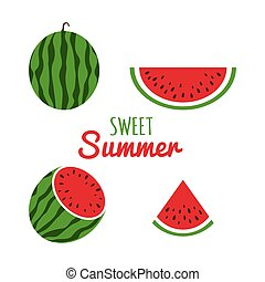 Juice watermelon set. Watermelon icon in a flat style. Red slices of watermelons. Sweet summer background. Vector illustration