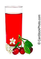 Juice with cherries leafs and flowers