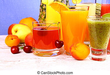 Juice with cherry, apricot, kiwi, pineapple and pear
