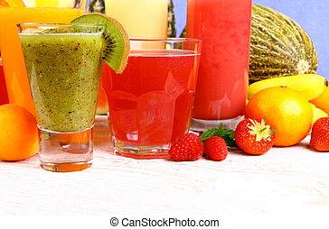 Juice with kiwi, apricot, raspberries, strawberry and banana