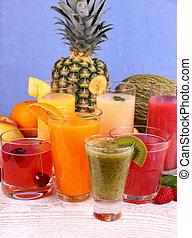 Juice with kiwi, banana, cherry, melon, tangerine, pear